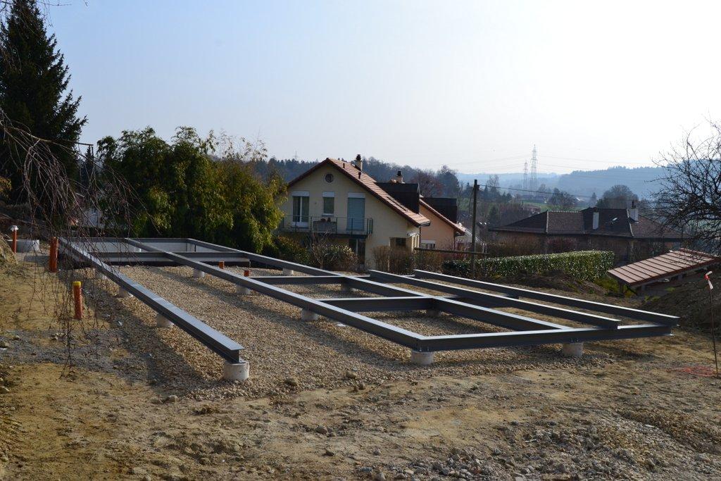 Construction d'une villa à Morrens poutre métallique