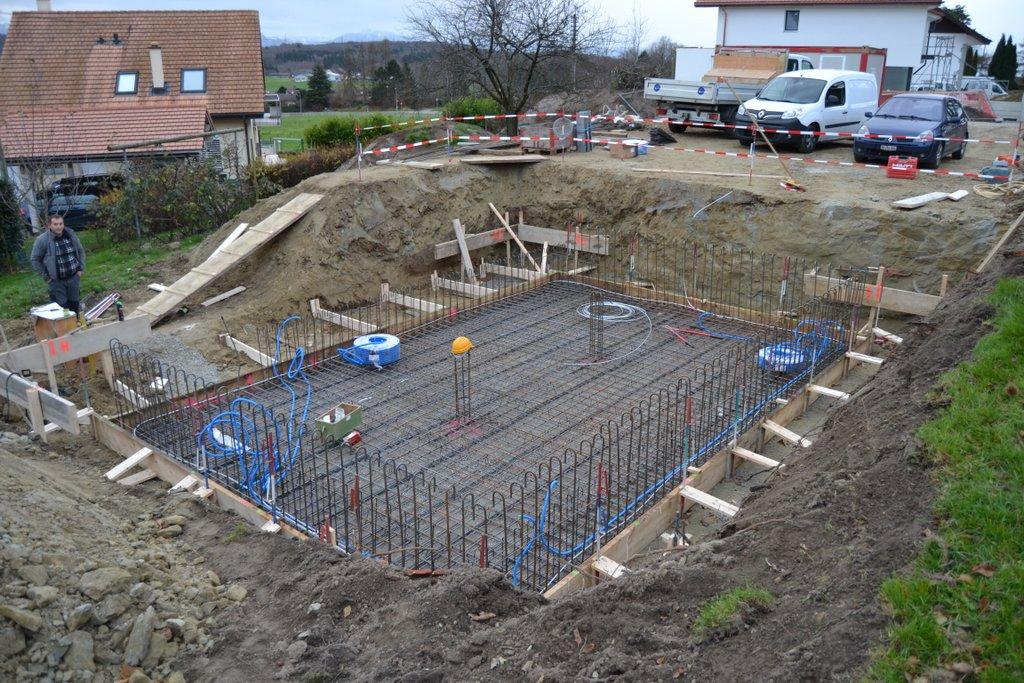 Construction d'une villa à Morrens ferraillage radier